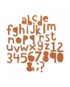 """Fustella Sizzix Thinlits Alfabeto minuscolo e numeri """"Cutout Lower 1,91 cm"""" - 663074"""