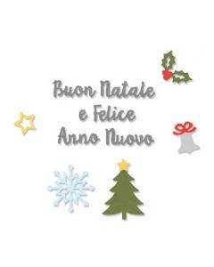 "Fustella Sizzix Thinlits ""Auguri di Natale"" - 663303"