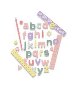 "Fustella Sizzix Thinlits ""Alfabeto Pop Art minuscolo 1,38 cm"" - 663311"