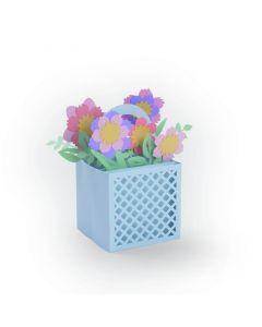 """Fustella Sizzix Thinlits """"Carta scatolina con fiori"""" - 663578"""