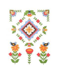 """Fustella Sizzix Thinlits """"Elementi Folk Art"""" - 663607"""