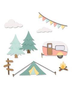 """Fustella Sizzix Thinlits """"Avventura, campeggio"""" - 663856"""