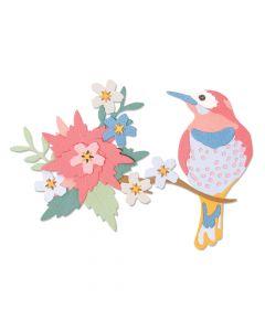 """Fustella Sizzix Thinlits """"Scena con fiori e uccello"""" - 664392"""