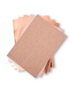 Set 50 fogli di cartoncino formato A4 - Tonalità oro rosa