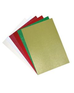 Set 60 fogli di cartoncino glitterato formato A4 - Colori festivi