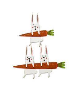 """Fustella Sizzix Thinlits """"Conigli con carota"""" - 665213"""