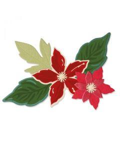 """Fustella Sizzix Framelits """"Fiori stagionali, Stella di Natale"""" con timbri - 665331"""