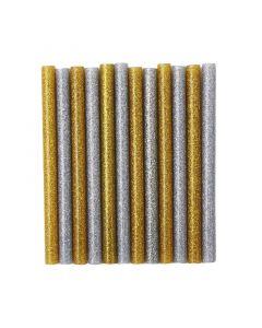 Set 12 bastoncini colla a caldo glitterata - Oro e argento