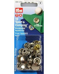 """Bottoni a pressione """"Sport & Camping"""" 15 mm argento - Prym"""