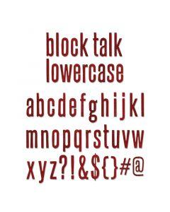"""Fustella Sizzix Bigz XL """"Block Talk"""" alfabeto minuscolo - 659442"""
