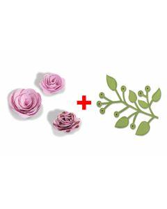 "Set fustelle Sizzix ""Rose 3D + Ramo con foglie"""