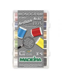 Box 18 filati Aerostitch Monogram n. 60 Madeira 1000 mt - No. 8064