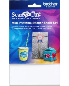 Set di 7 fogli adesivi stampabili formato cartolina Brother Scanncut