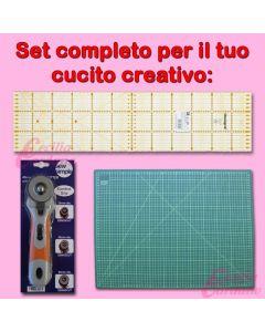 Set accessori per cucito creativo con Tappeto taglio, Taglierina rotativa e Squadra