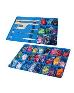Kit per applicazione bottoni automatici a pressione + 660 bottoni in plastica colorati